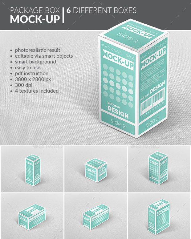 6 Different Package box Mockup