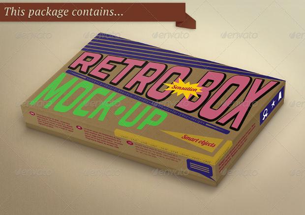 Retro box Package mockup