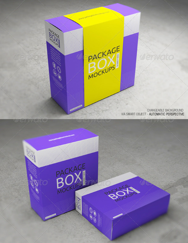 Package box with smart Objects mock up