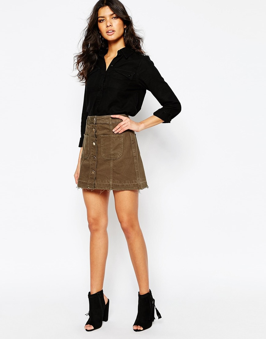 river island utility button through skirt
