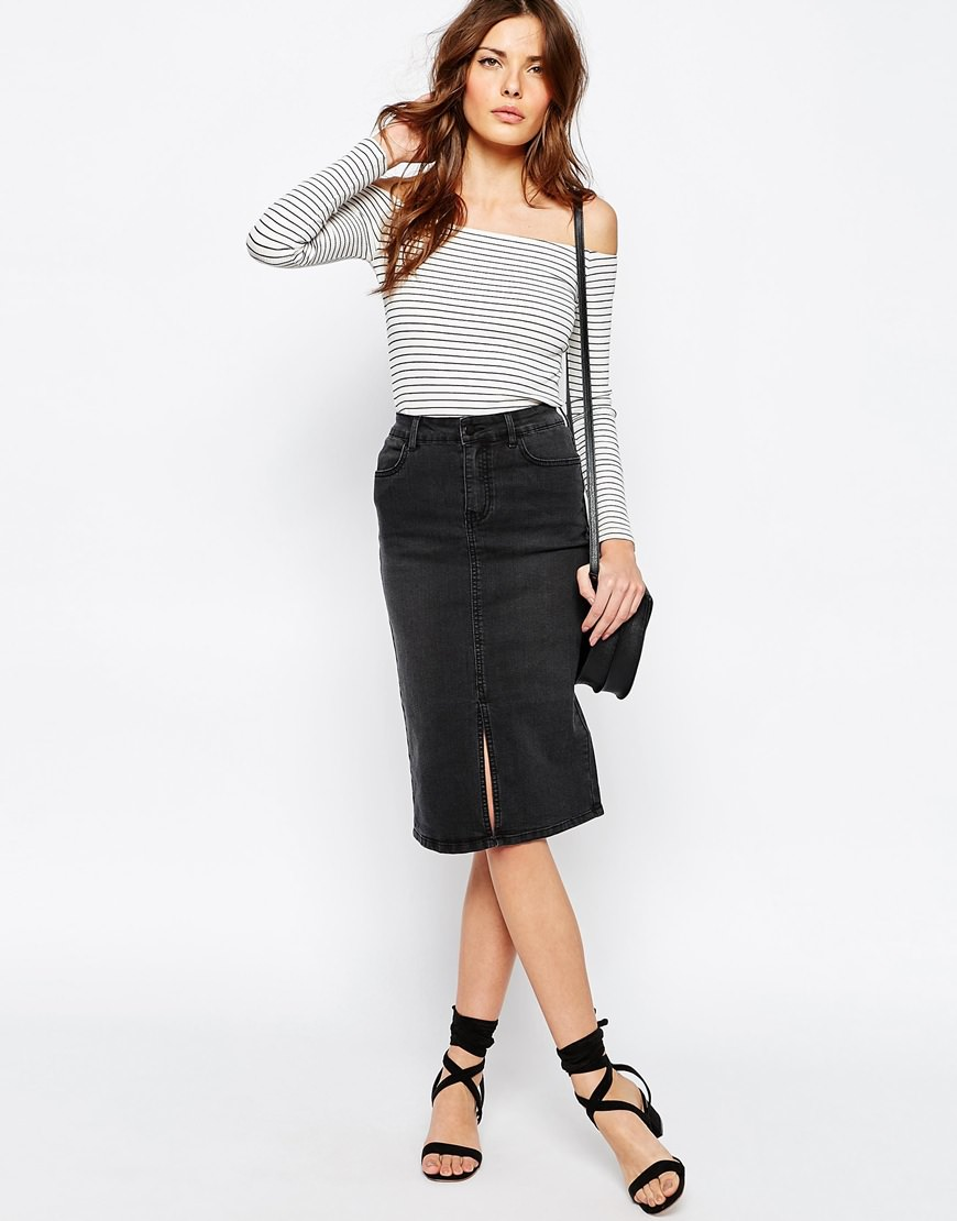 vila denim pencil skirt