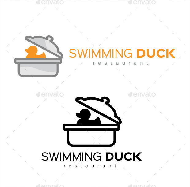 Swimming Duck Logo for Restaurants