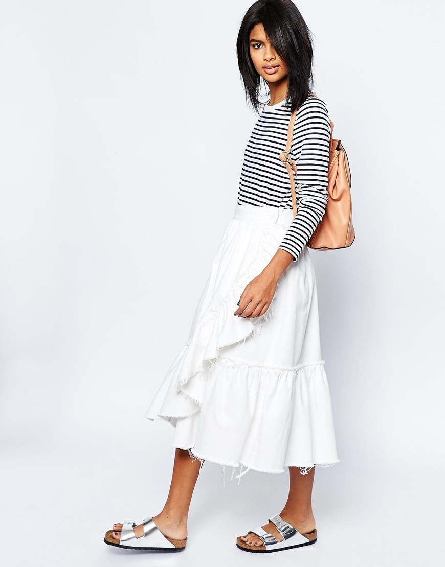 asos denim raw hem ruffle midi skirt in white