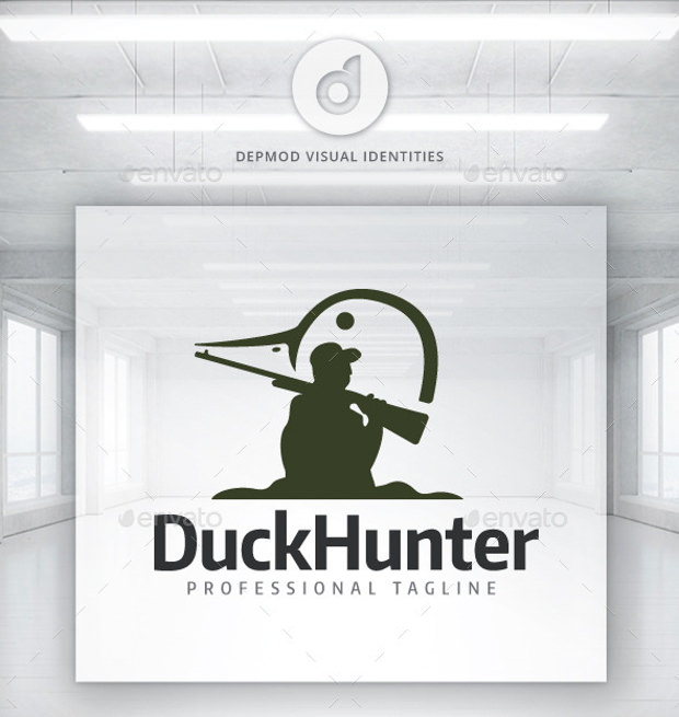 Duck Hunt Logo Shadow with Duck Head in Negative Space