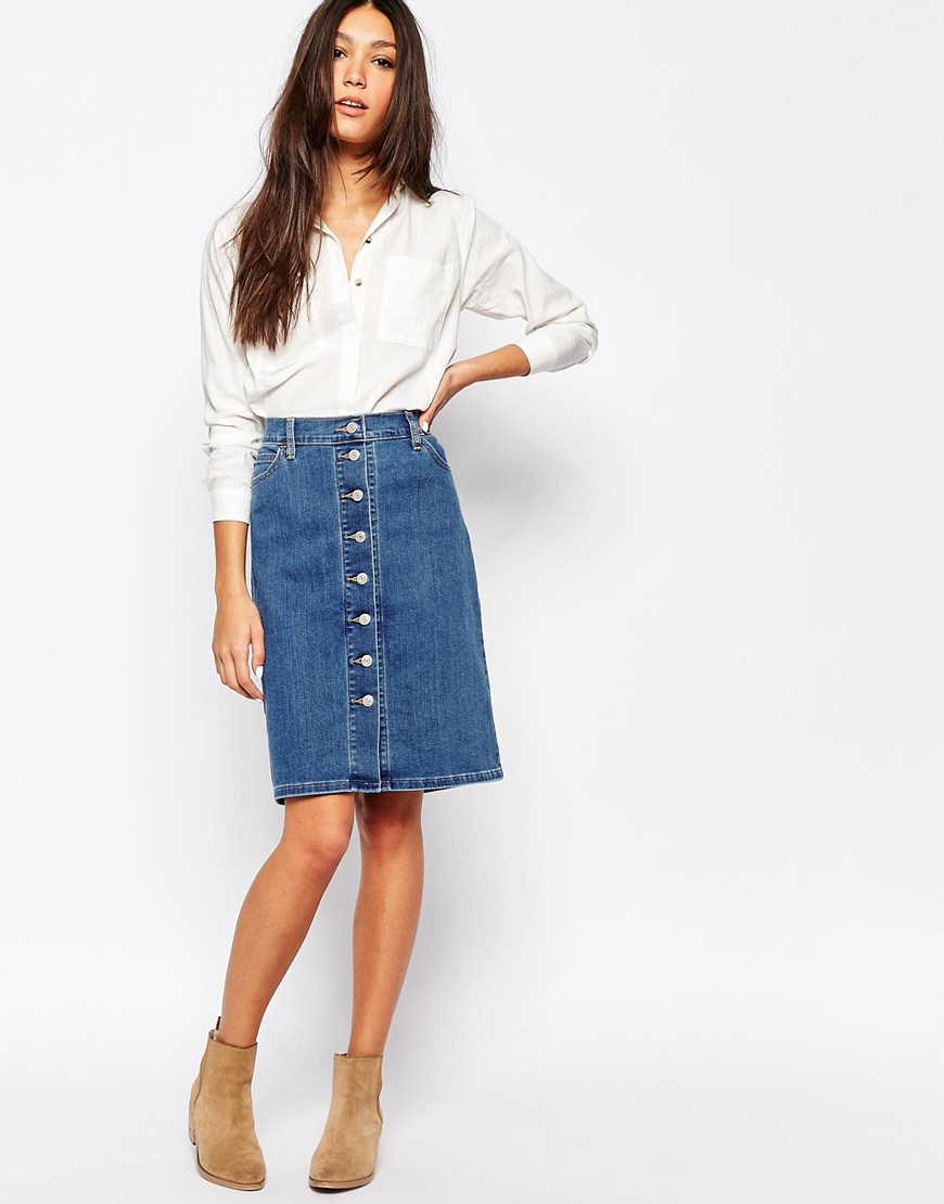 levis denim pencil skirt