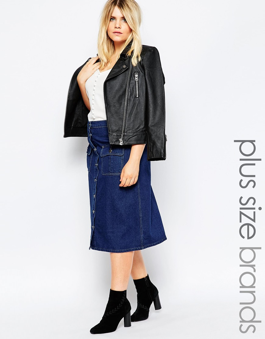 boohoo plus button through denim skirt