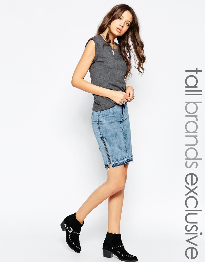 noisy may tall denim skirt
