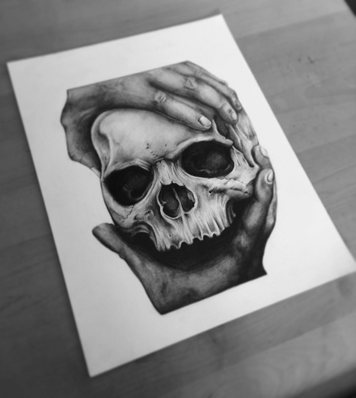 Skull Pencil Drawing Art