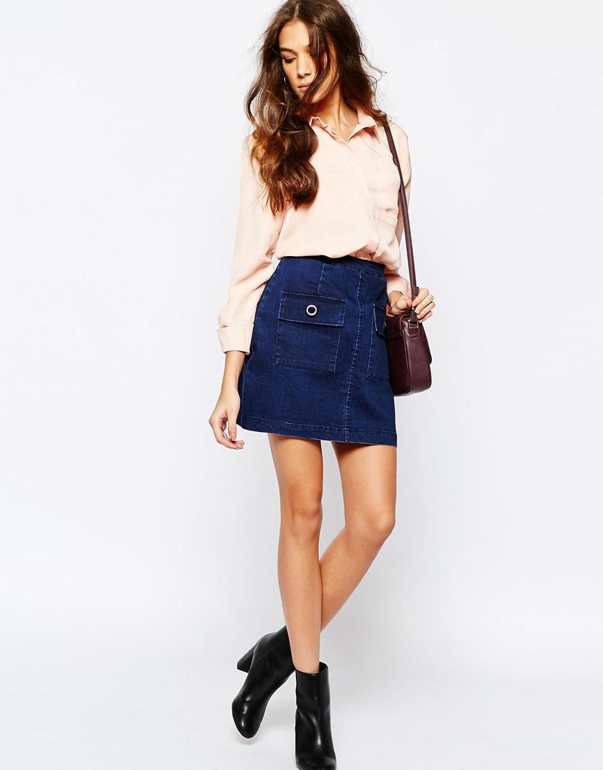 Neon Rose Denim Skirt