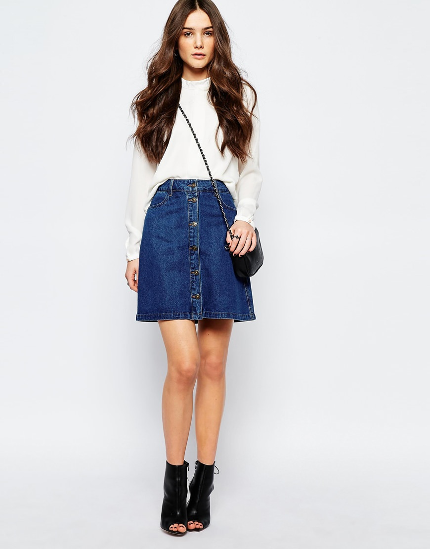 only button front denim a line skirt