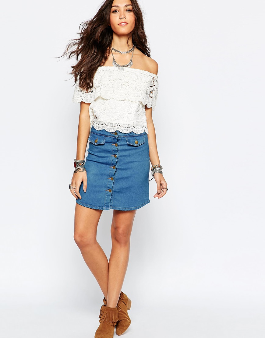 wyldr denim pencil skirt