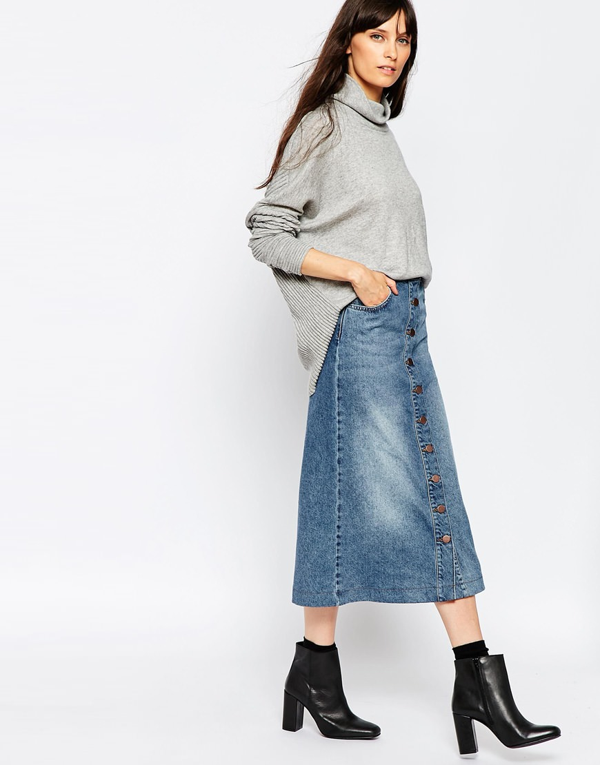 female pine denim midi skirt