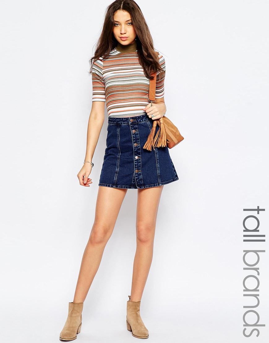 Tall Button Up Denim Skirt