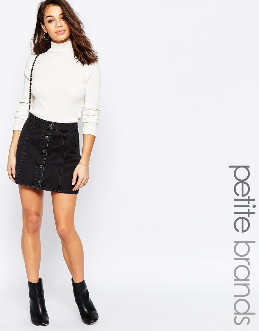 new look petite button up denim skirt