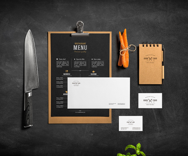 beautiful bar and restaurant branding mock up