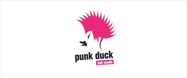 Punk Hair Style Duck Logo