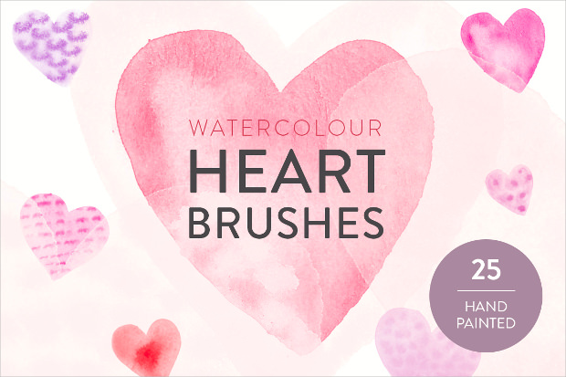 25 watercolor heart brushes set1