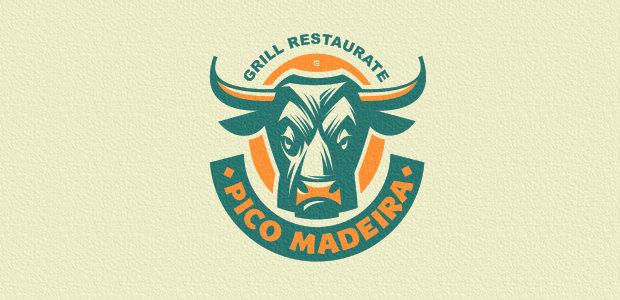 Flat Advertising Bull Logo