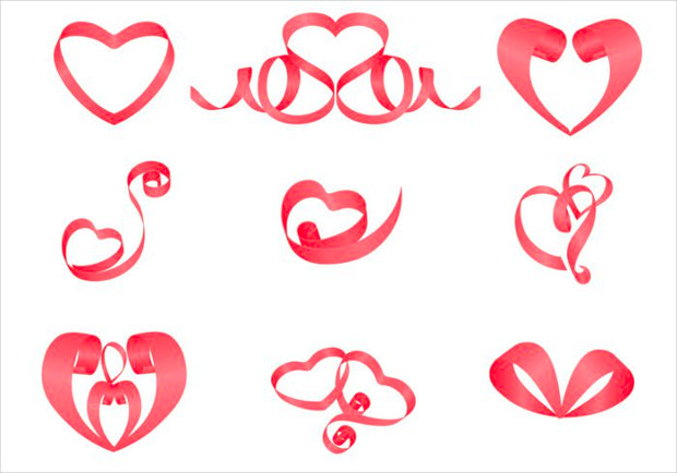 ribbon heart photoshop brushes1