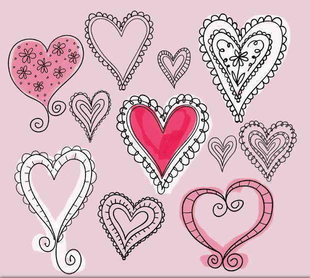 Doodle Heart Photoshop Brushes