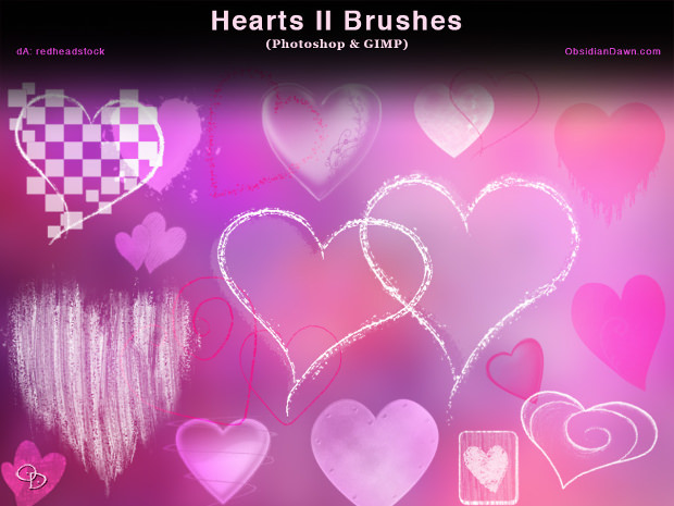 different types of heart photoshop brushes