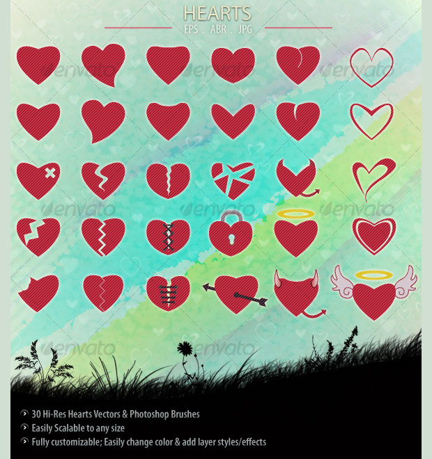 30 red color heart photoshop brushes