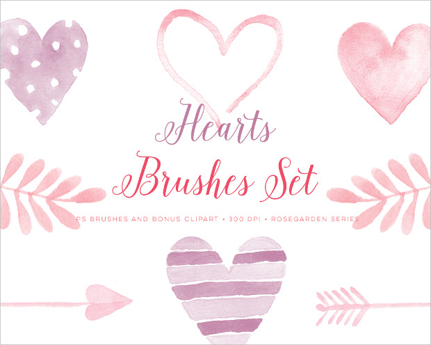 valentine watercolor heart brushes