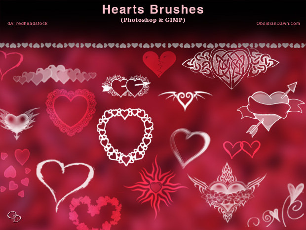 24 awesome heart photoshop brushes