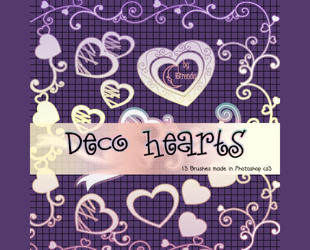 13 decorative heart brushes