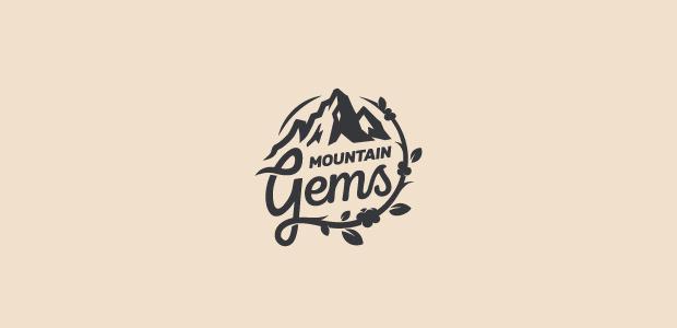 flat mountain logo design