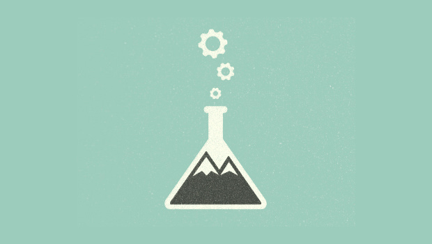 Scientific Experimental Type Mountain Logo illistration