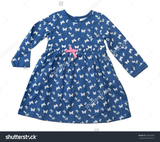 baby blue dress with a pattern of butterflies