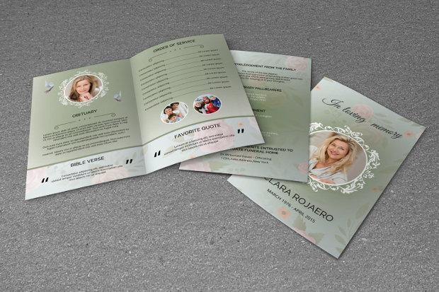 PSD obituary program template