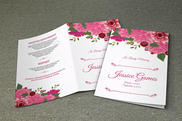 collection of floral funeral program template