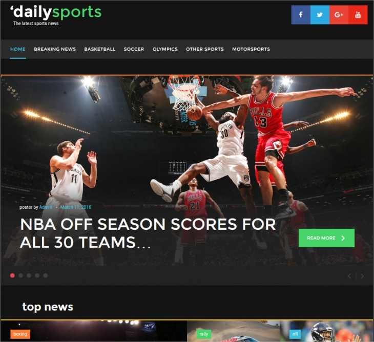 daily sports news blogging wp template