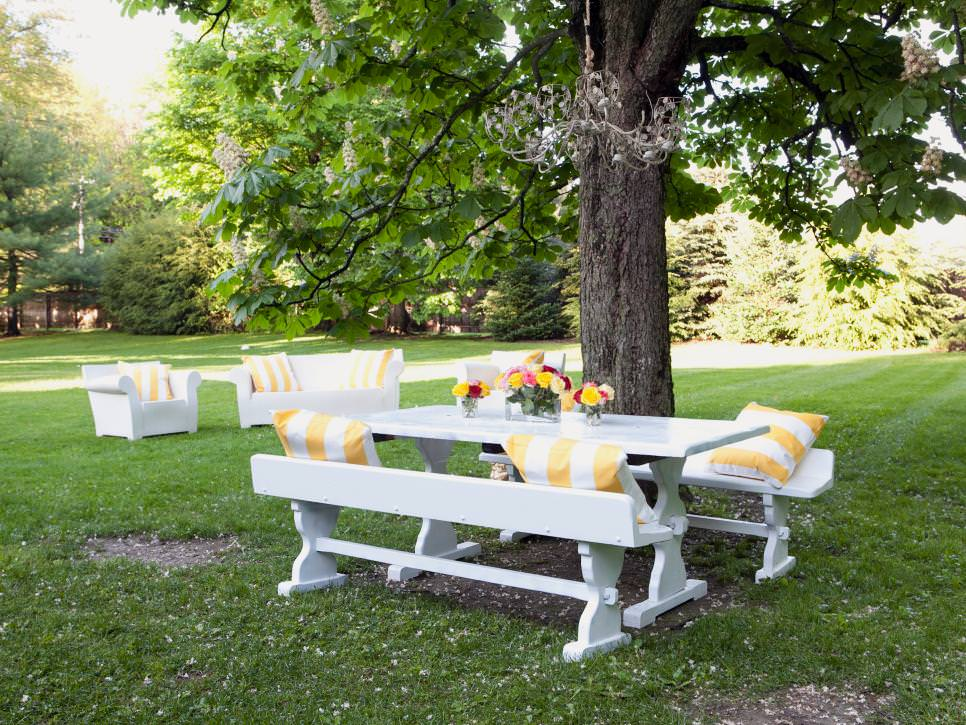White Picnic Table With rustic chandelier