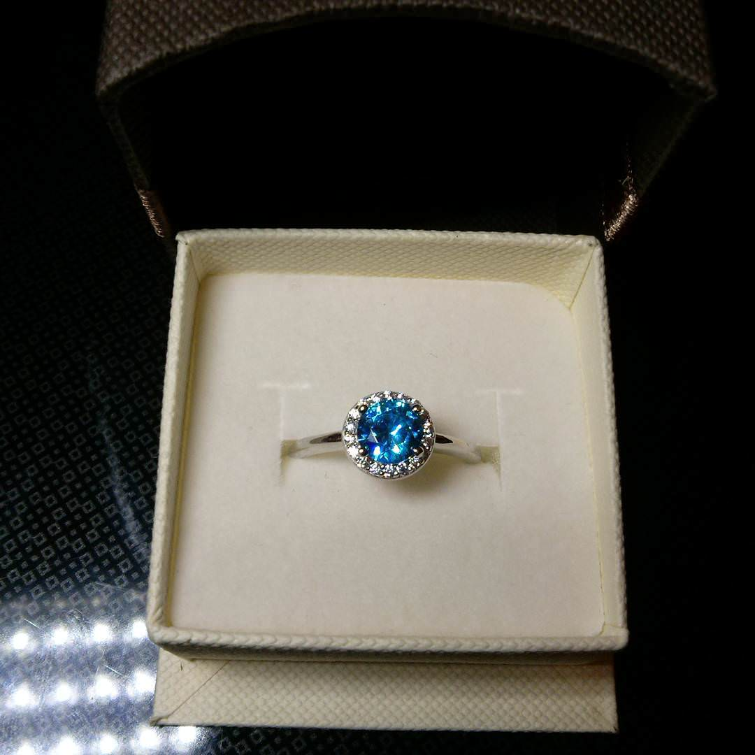 trendy blue wedding ring