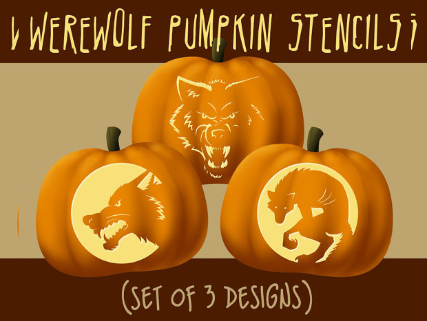Elegant Warewolf Scary Pumpkin Carving Patterns