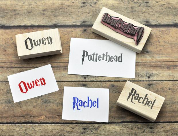 Custom Harry Potter Name Stamp, Hand Carved Rubber Stamp