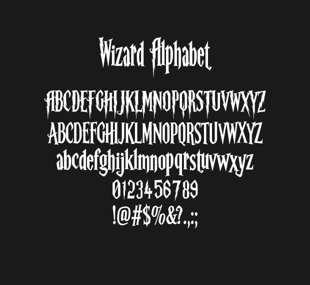 Harry Potter Alphabet, Harry Potter Font