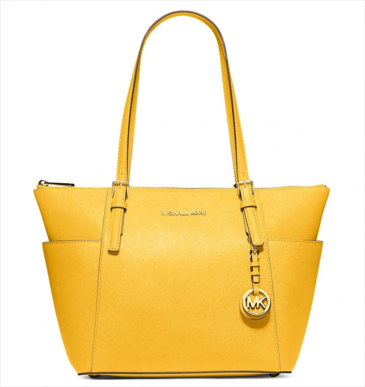 a483826552de9 yellow michael kors leather bag jet set item large snap pocket tote ...
