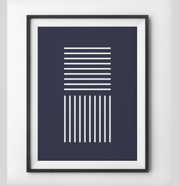 white line pattern on navy wall art