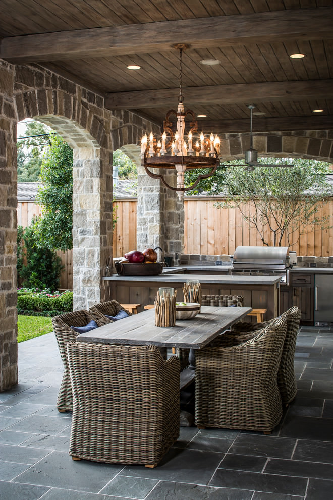 traditional patio house with wooden chandelier