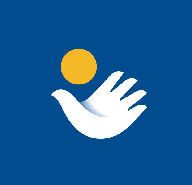 white dove logo with sun