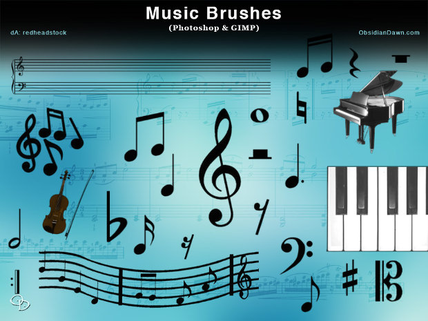 Photoshop and GIMP Music Brushes