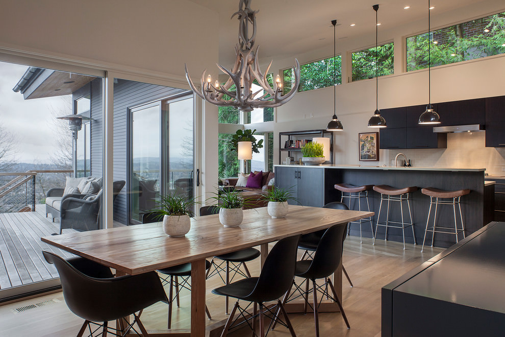 contemporary dining room with antler chandelier design