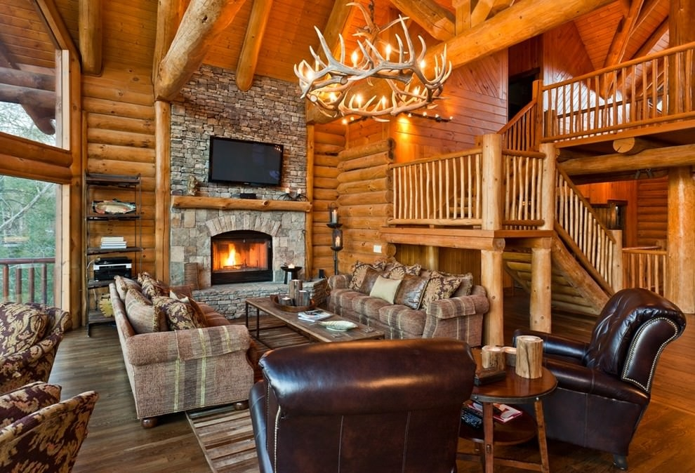 rustic living room with funky antler chandelier design
