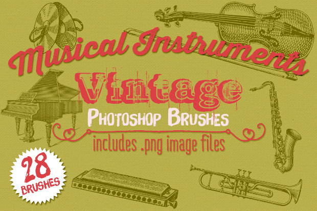 24 Vintage Musical Instrument Photoshop Brushes