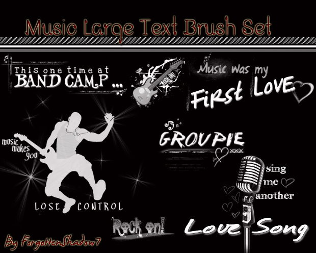 Large Text Music Brushes Set