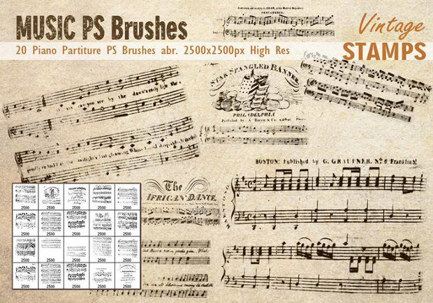 20 Piano Partiture PS Brushes